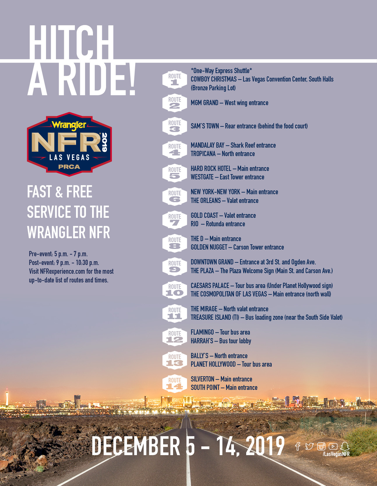 NFR Shuttle Bus Schedule